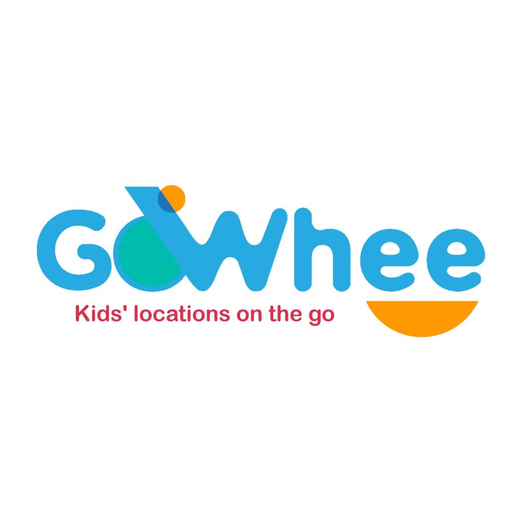 Gowhee App logo: The logo represent a child on a slide with the letter O and W. The slogan is underneath : Kid's locations on the go