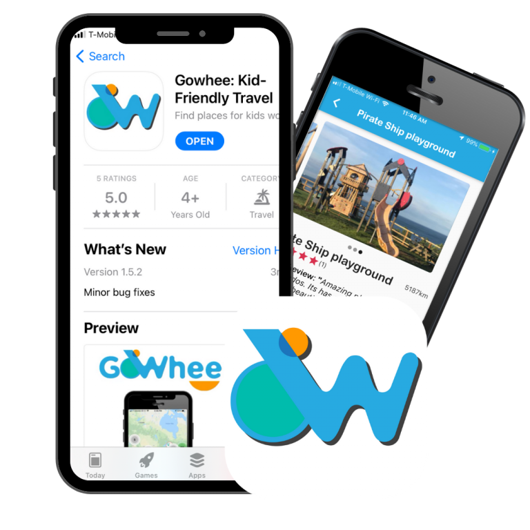 Two phones and the gowhee app logo. One phone has a screenshot of the page of Gowhee app on apple store. One phone has a screenshot of the detail page of a playground location.